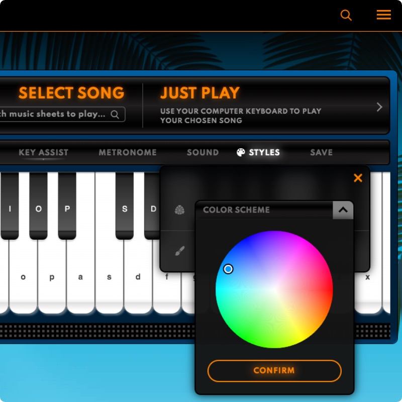 Customise Your Piano Settings with Styles, Virtual Piano
